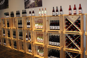An image of wine bottles displayed.