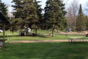 A picture of picnic benches in the grass and trees.