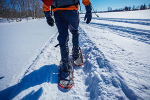 An image of the lower half of a person snow shoeing down a path.
