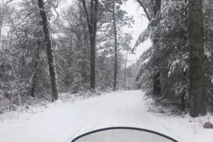 A scenery picture of a snowy road, taken from the rider of a snow mobile.