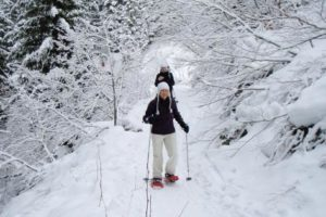 An image of two people snow shoeing through a snow covered trail.